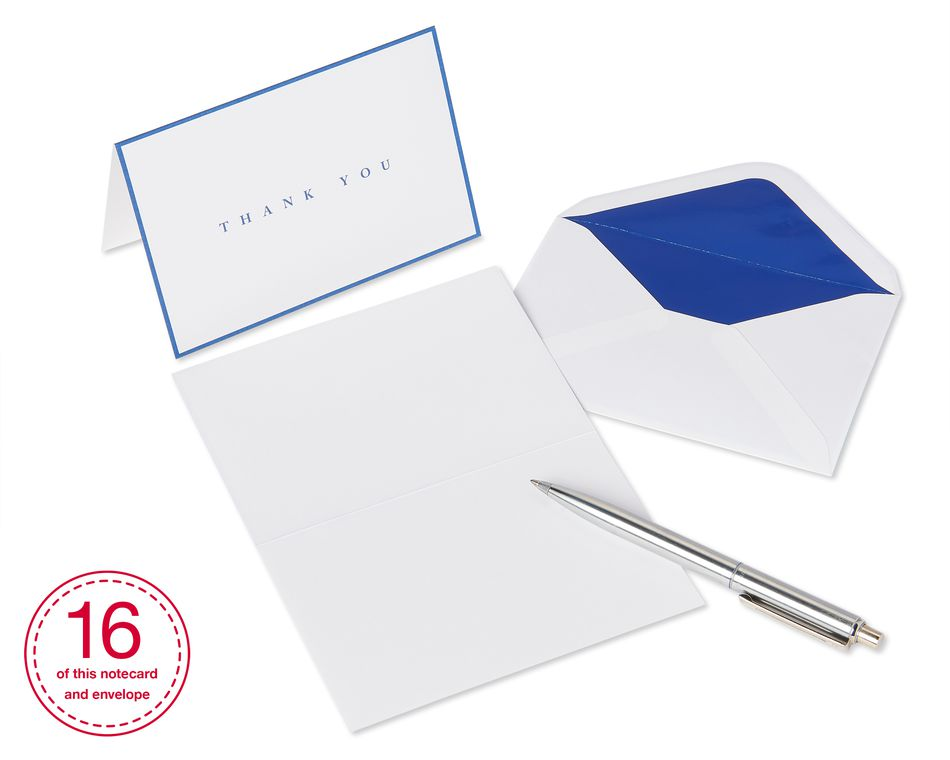 Navy Boxed Thank You Cards and Envelopes, 16-Count