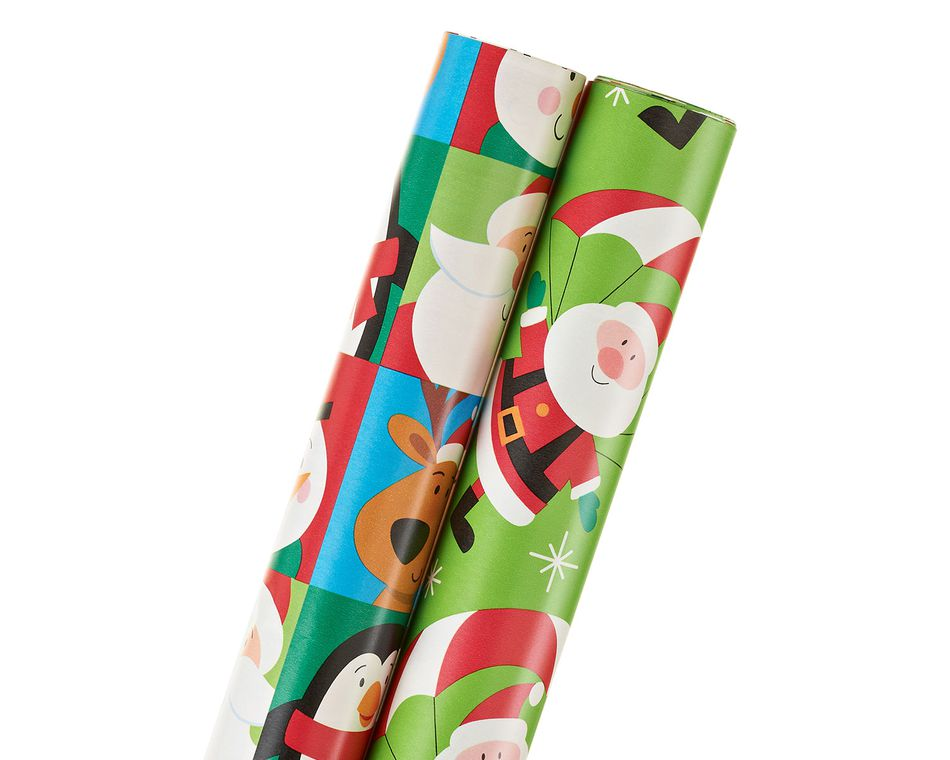 santa and friends, christmas 2-roll wrapping paper