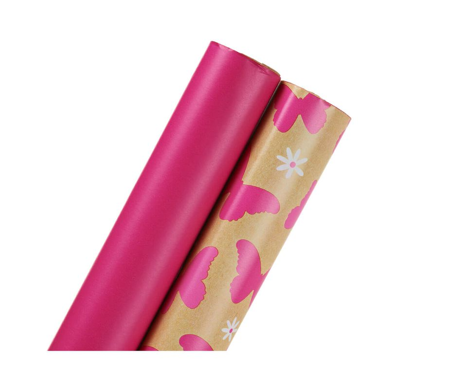 Wrapping Paper, Pink and Butterflies and Daisies, 2-Roll