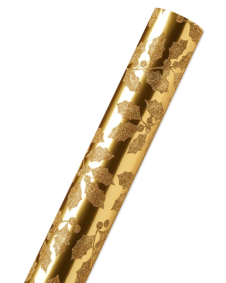 Gold Holly Holiday Wrapping Paper