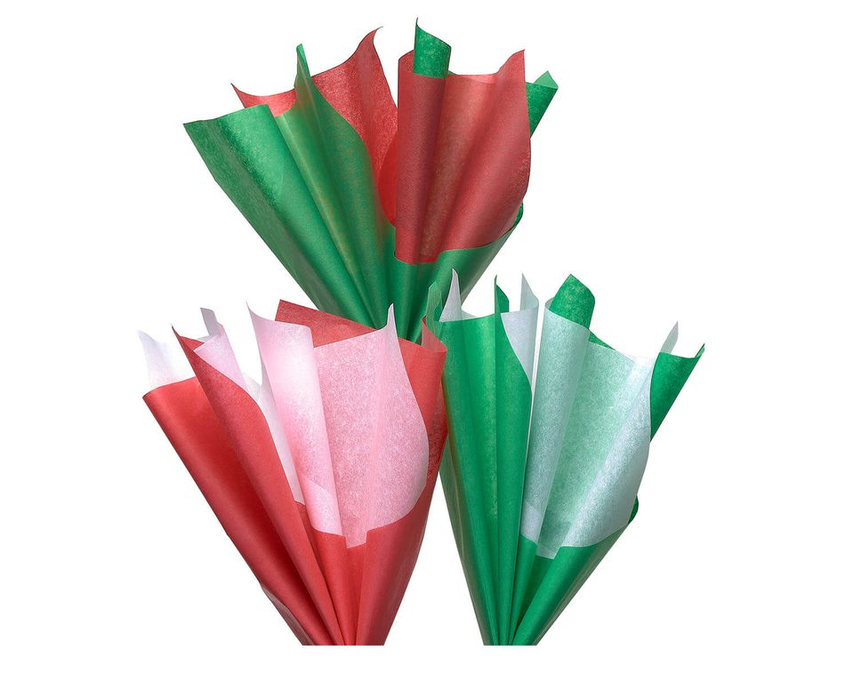 Red, Green and White Tissue Paper, 125-Count