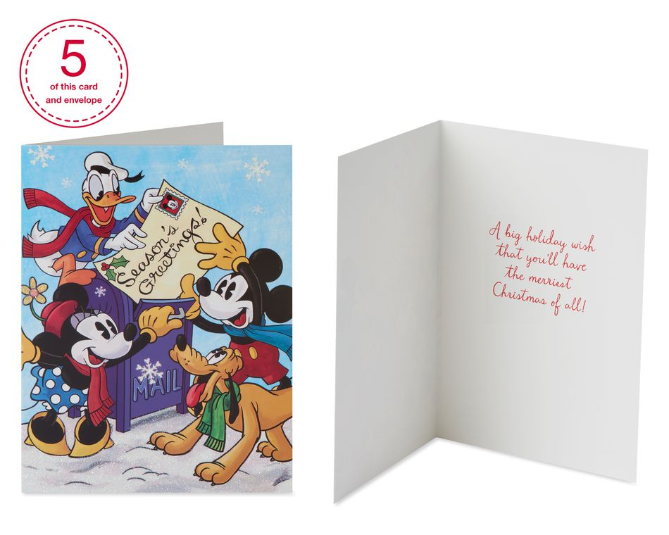 Christmas Mickey Mouse Assorted Designs Boxed Cards and White Envelopes, 20-Count