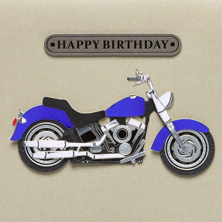 Motorcycle Guy Birthday Greeting Card
