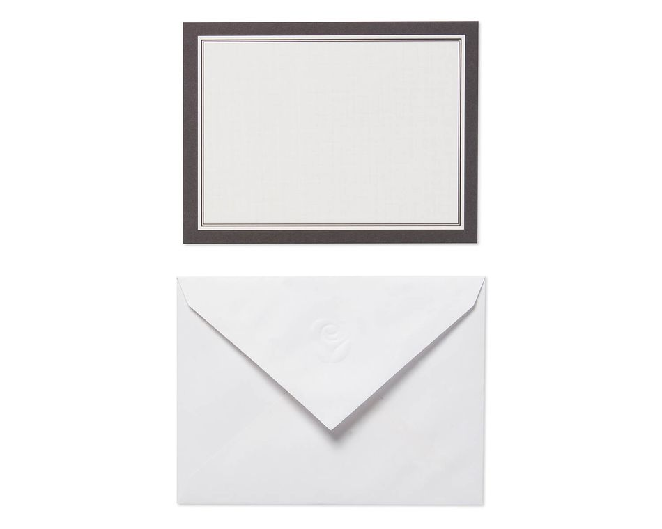 Black and White Blank Flat Panel Note Cards and White Envelopes, 40-Count