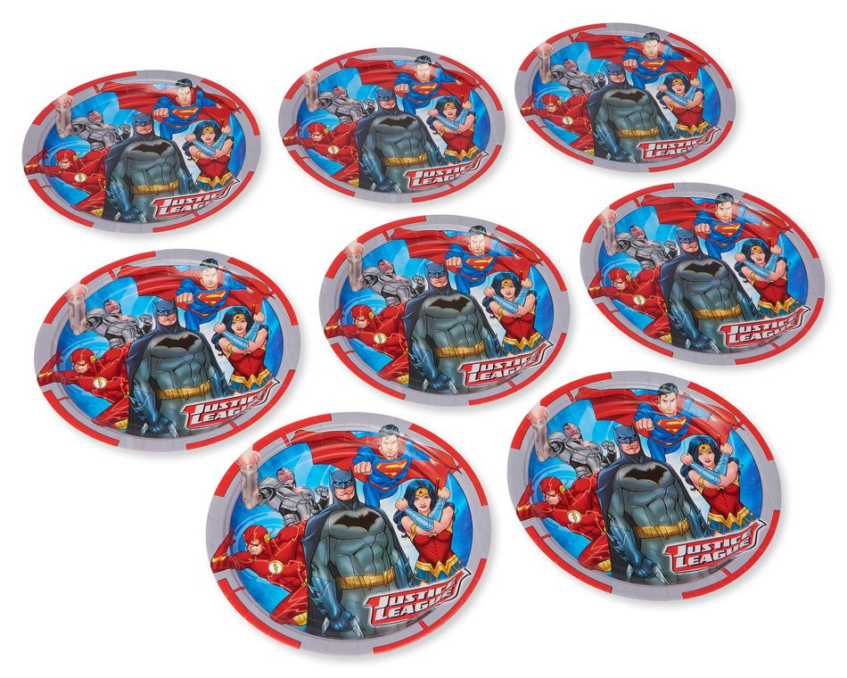 Justice League 8-Count Dinner Round Plates
