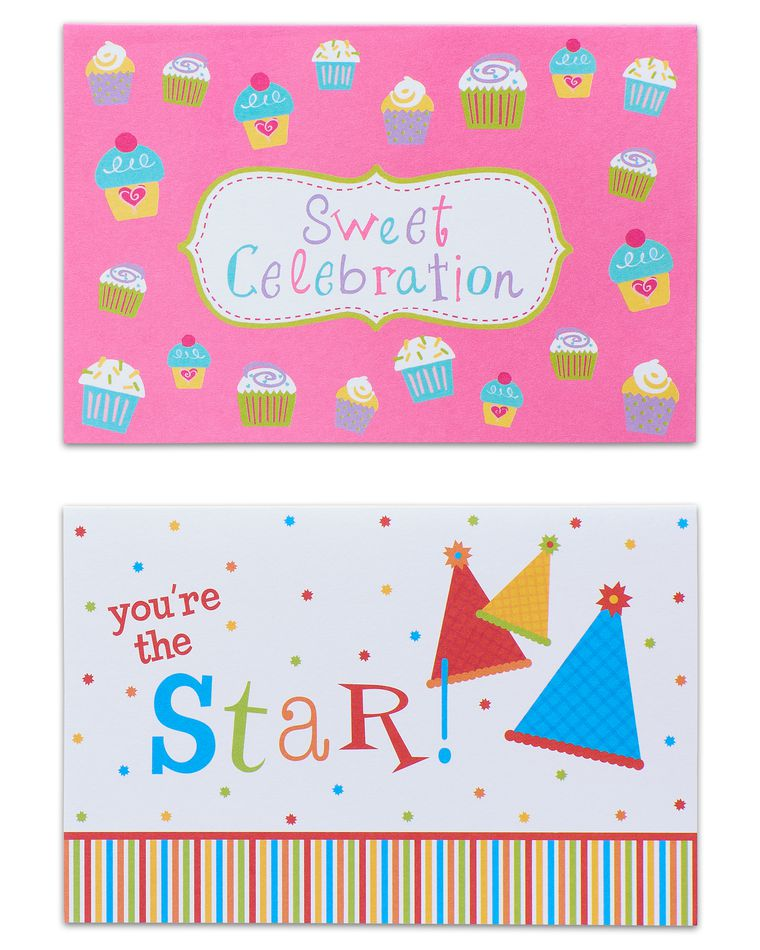 Cupcakes and Presents Assorted Birthday Cards and Envelopes, 12-Count