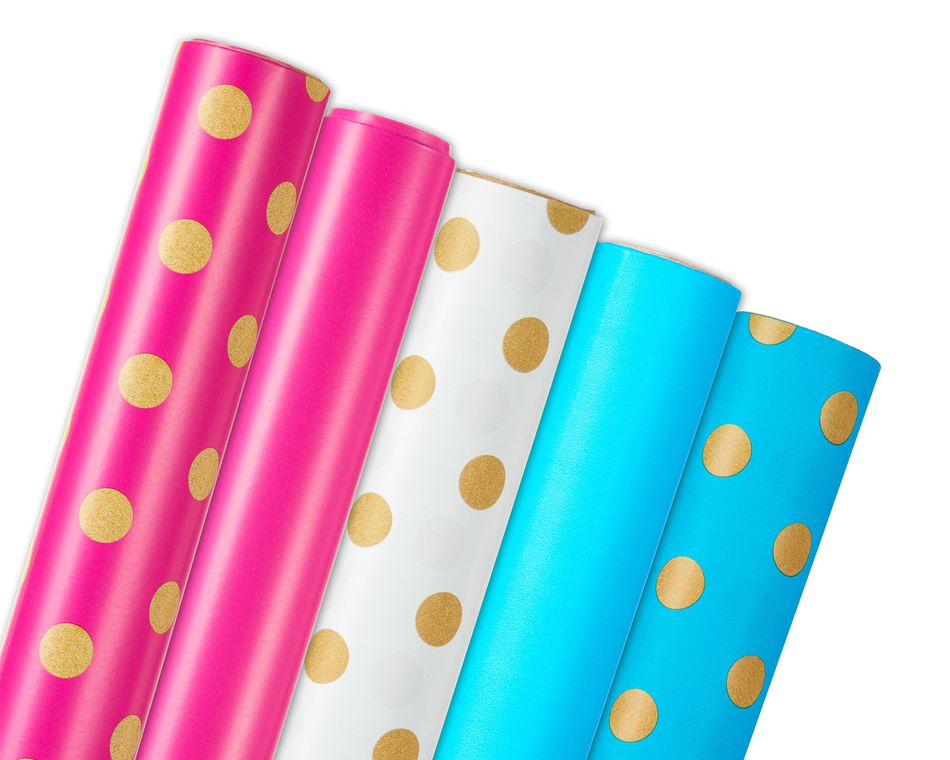 Pink and Blue Wrapping Paper Bundle, 5 Count