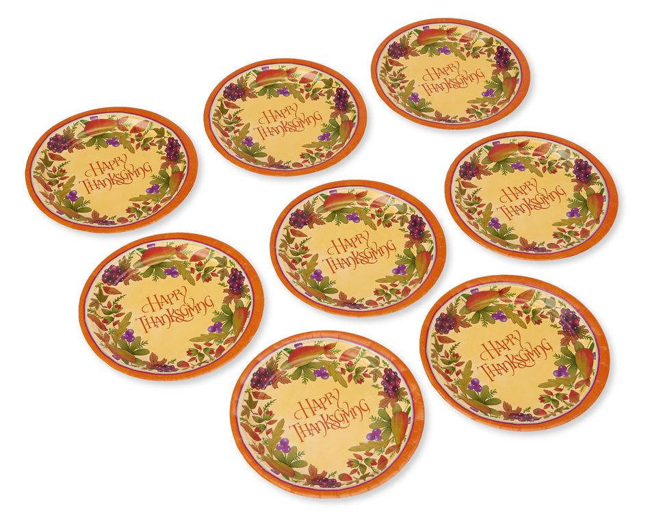 Thanksgiving Medley Paper Dinner Plates, 8-Count