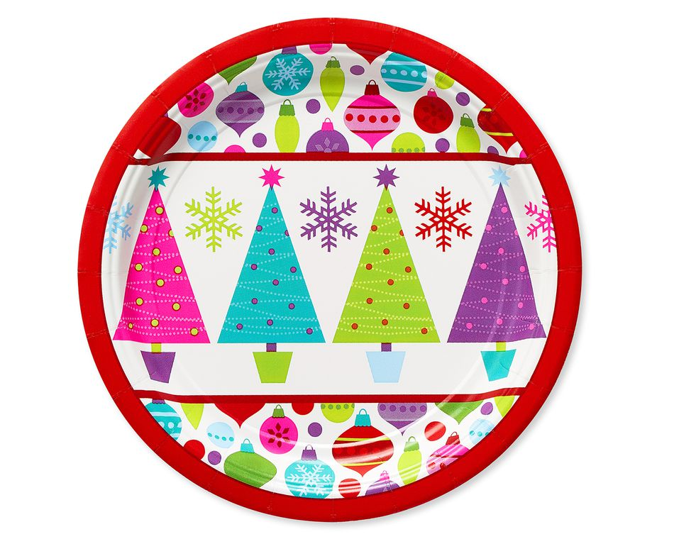 Playful Trees Christmas Paper Dessert Plates, 8-Count