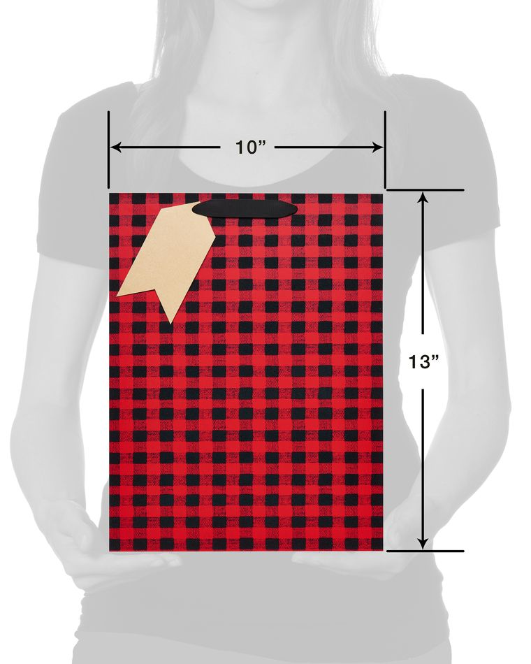 Christmas Marble and Plaid Medium Gift Bags; Red and Buffalo Plaid Large Gift Bags with Tissue Paper, 4-Count