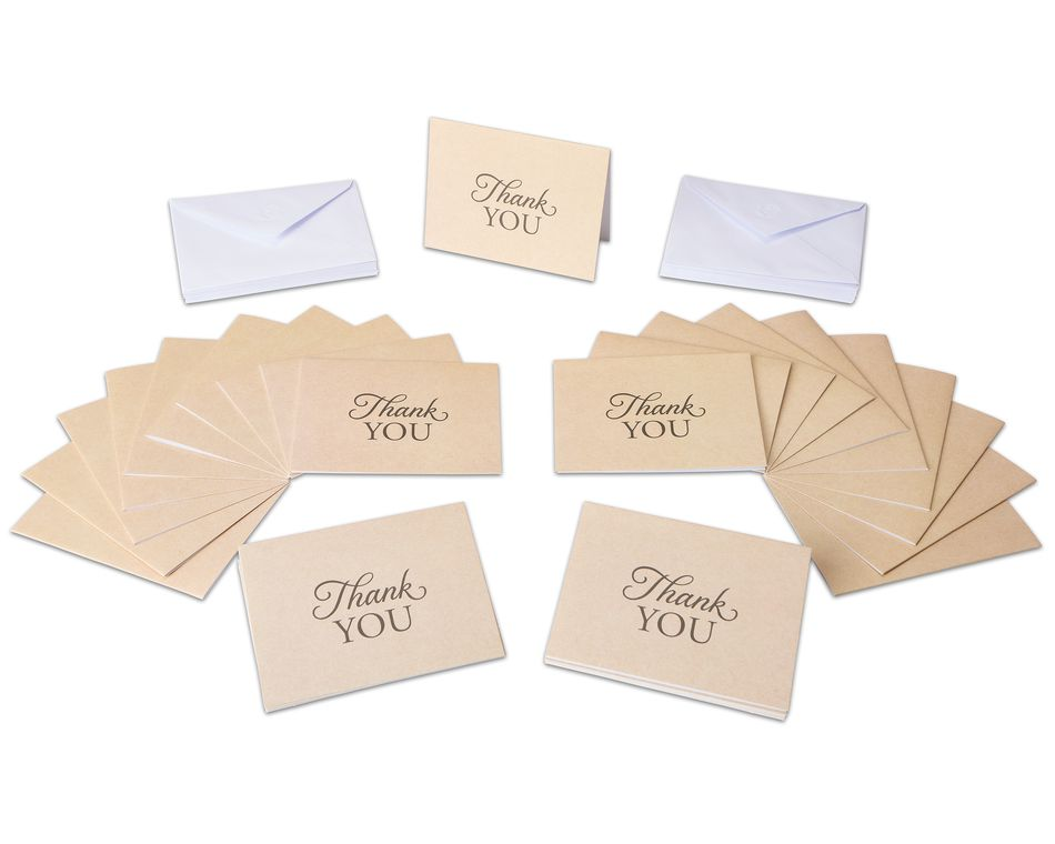 Kraft Thank You Cards and Envelopes, 50-Count