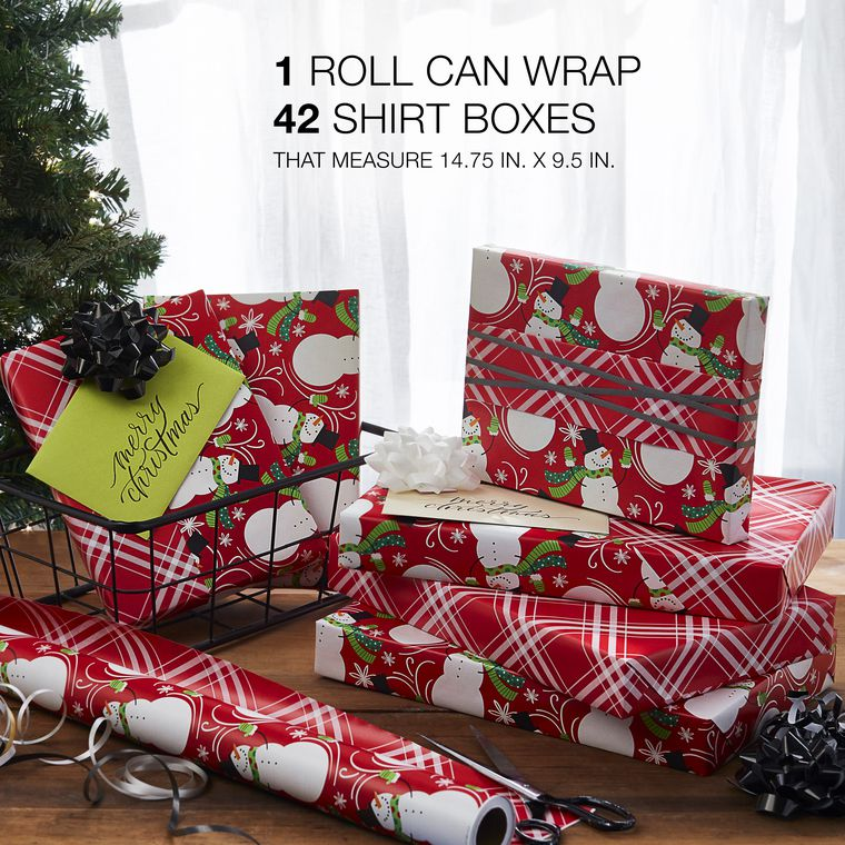 Christmas Reversible Wrapping Paper, Red Snowman and Red Plaid, 1-Roll, 175 Total Sq. Ft.