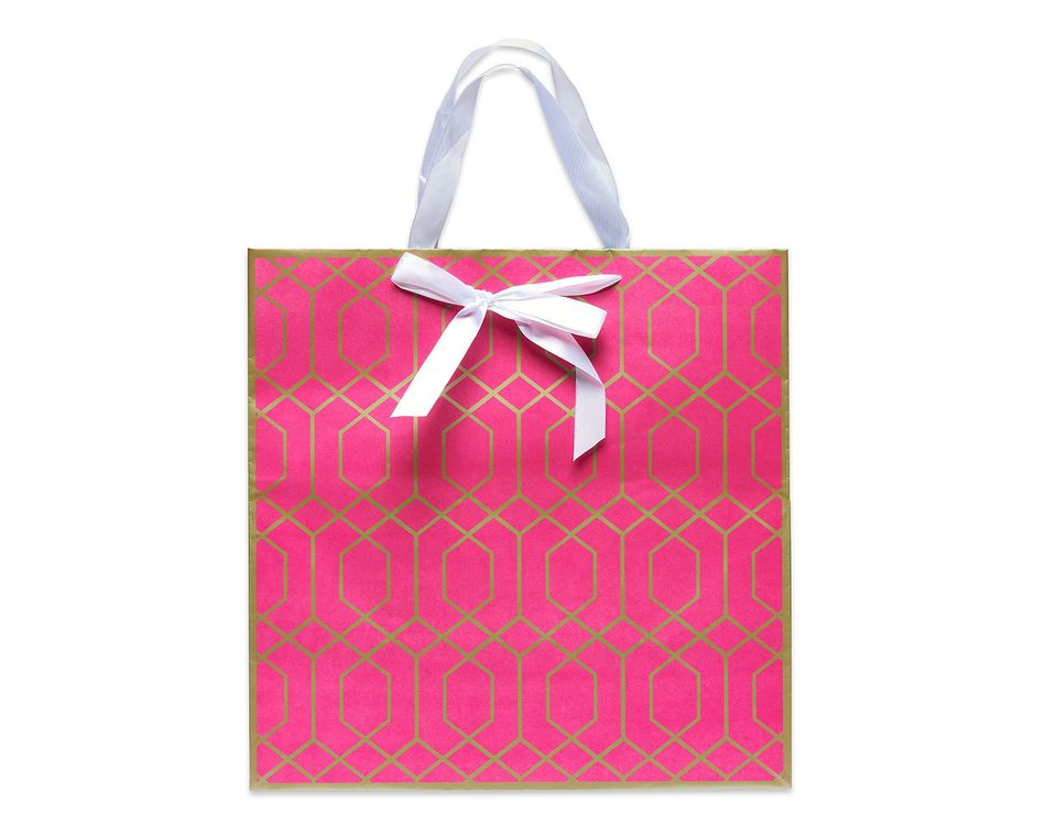 extra large pink and gold trellis gift bag