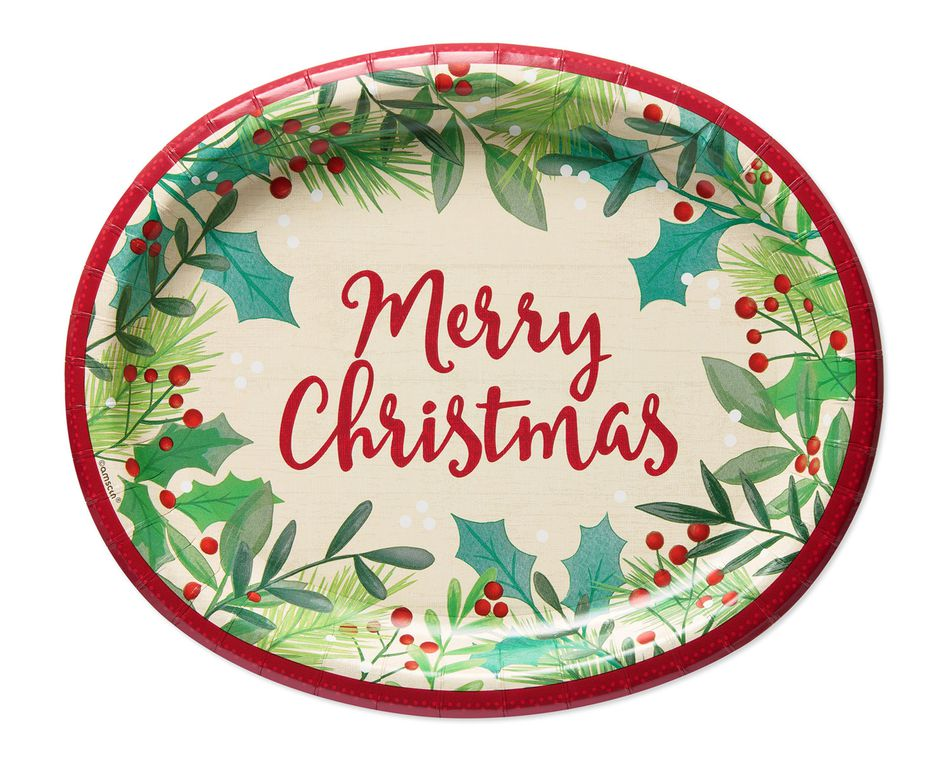 Christmas Plates.Merry Christmas Holly Dinner Plates 8 Count