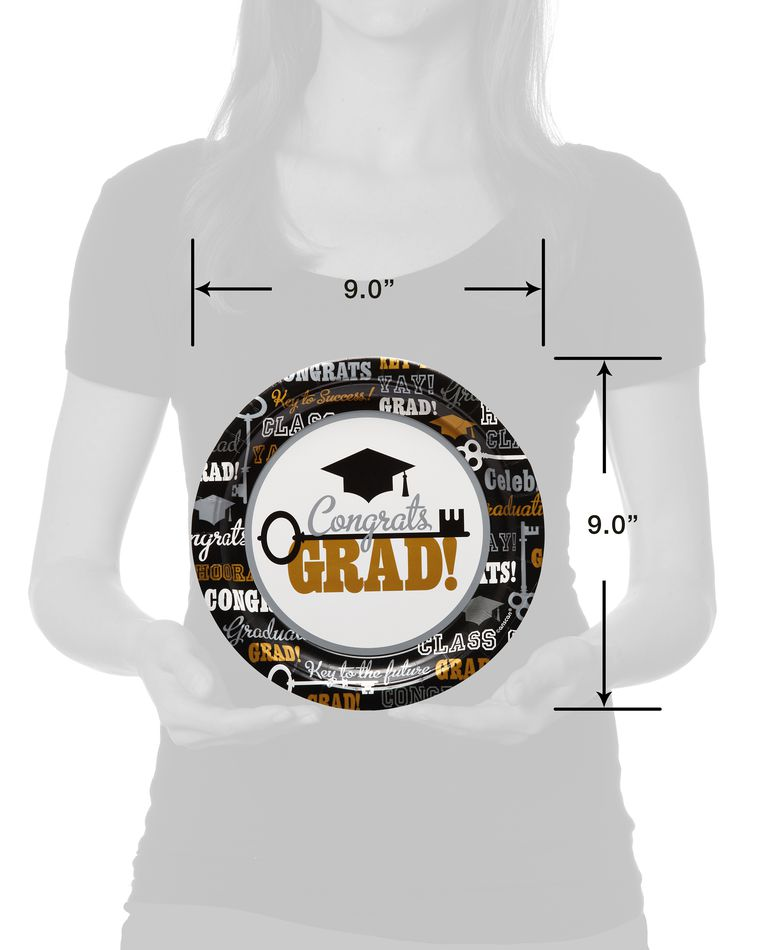 Graduation Paper Dinner Plates, 8-Count