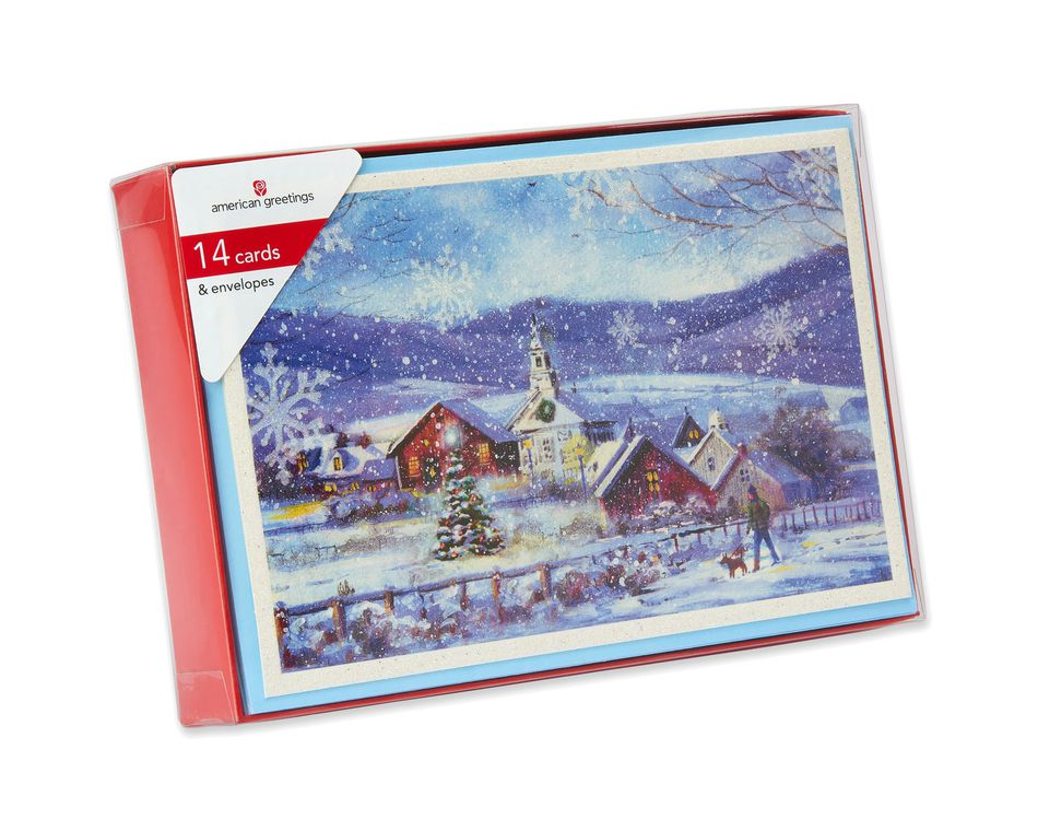 village with church christmas boxed cards 14 count american greetings