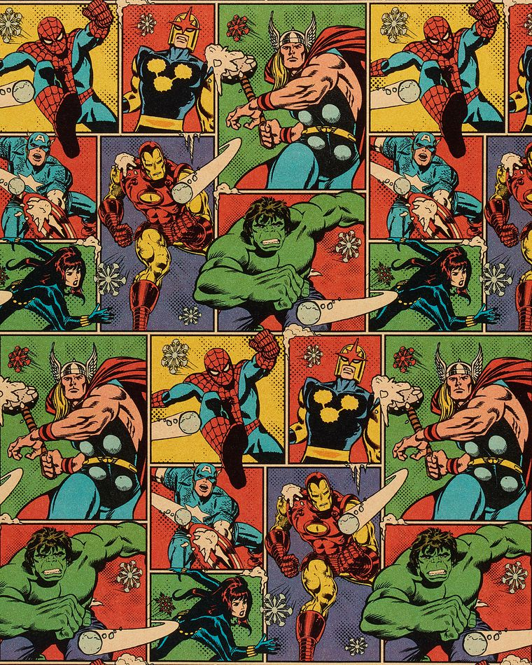 Avengers Comic Christmas Wrapping Paper, 40 Total Sq. Ft.