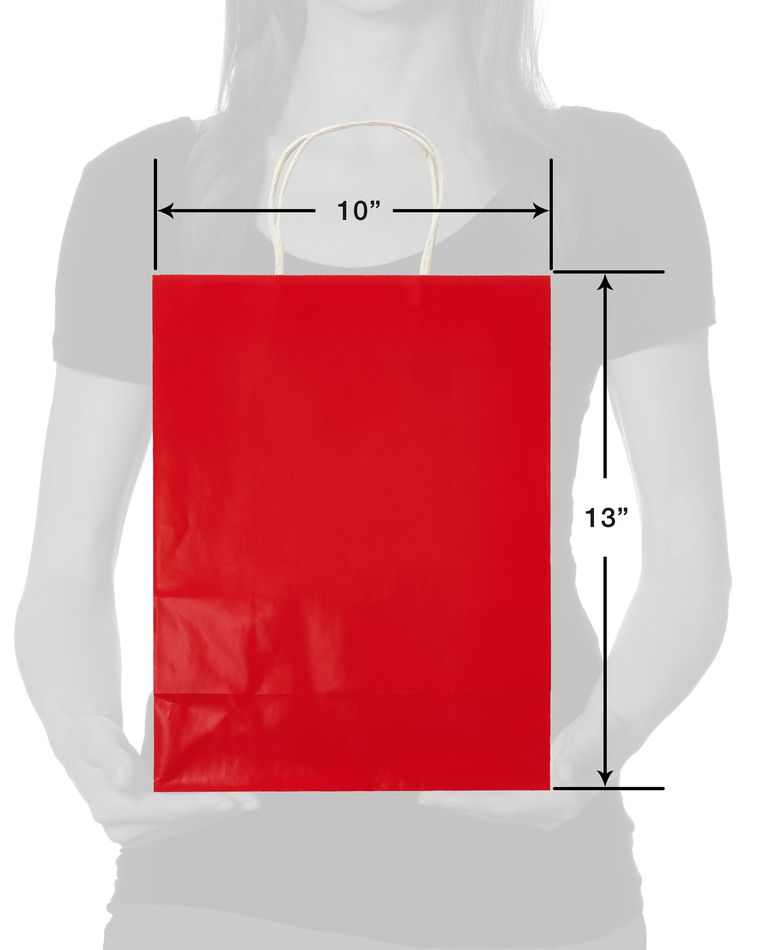 Medium Gift Bag, Solid Red