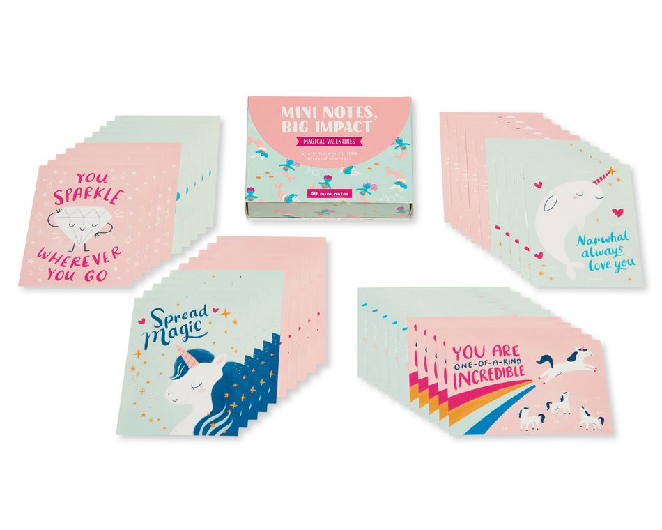 Magical Valentines Lunch Box Mini Notes, 40-Count