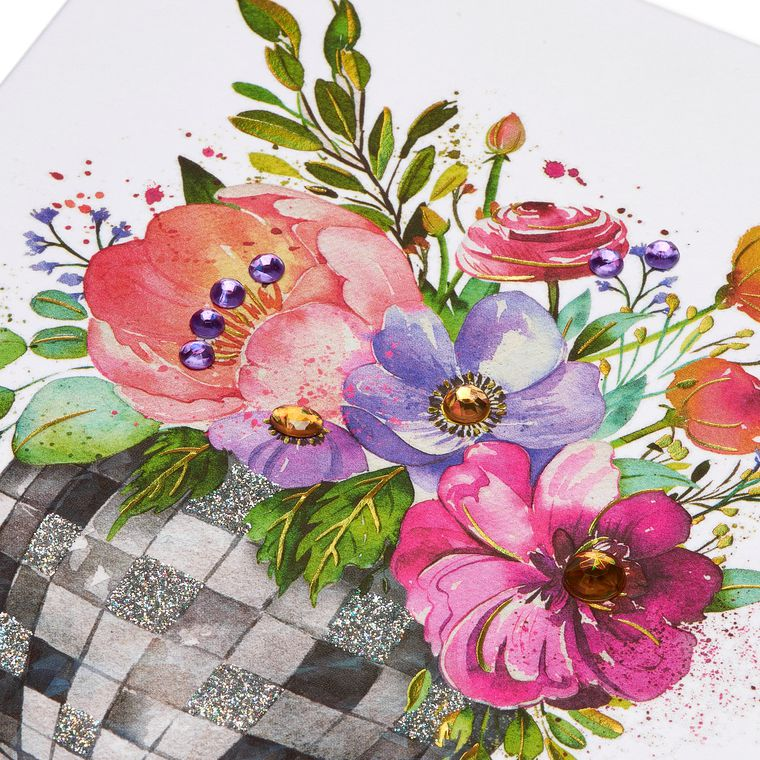 Floral Disco Ball Blank Greeting Card