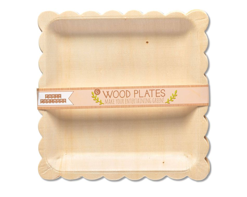 Party Partners Wood Dinner Plates, 6-Count