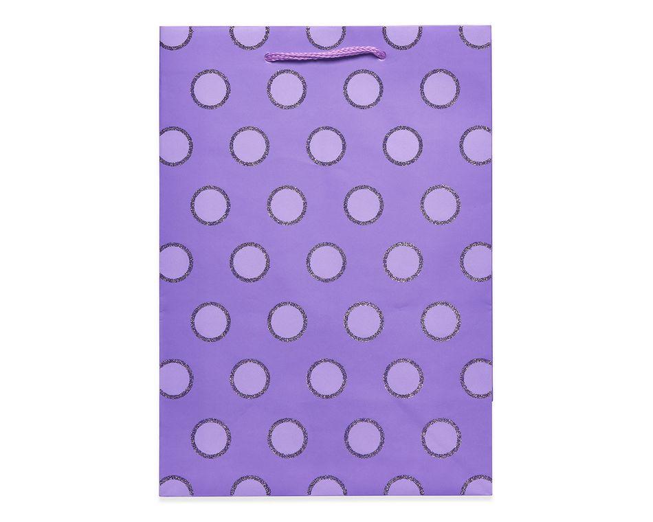 small purple glitter dots gift bag