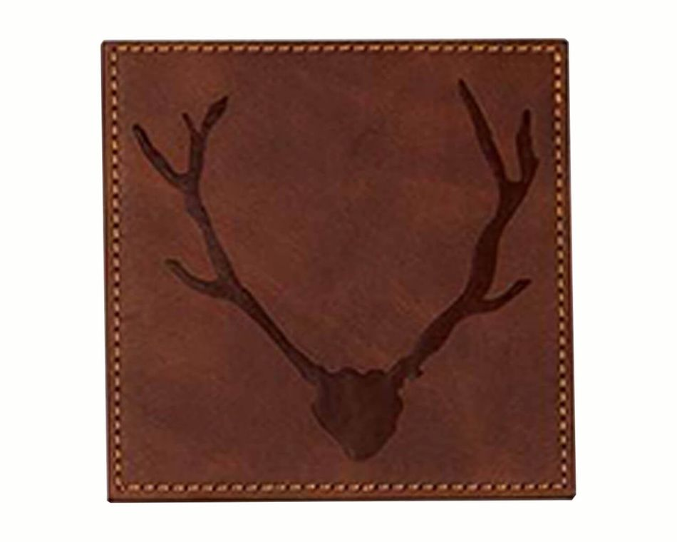 Mud Pie Dark Brown Faux Leather Coaster Set