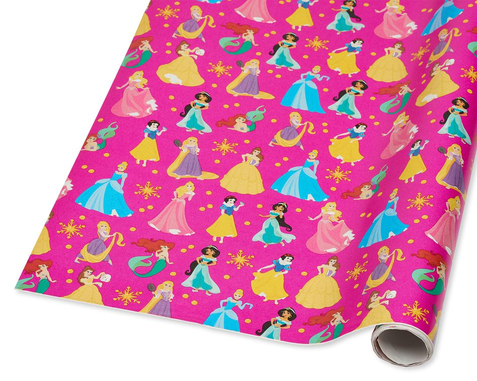 Disney Princesses Christmas Wrapping Paper, 40 Total Sq. Ft.