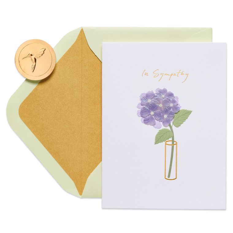 Floral Vase Sympathy Greeting Card
