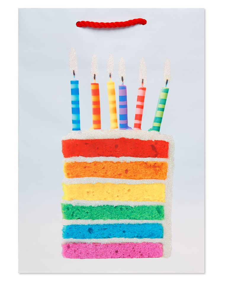 Rainbow Cake Slice and Candles Small Birthday Gift Bag