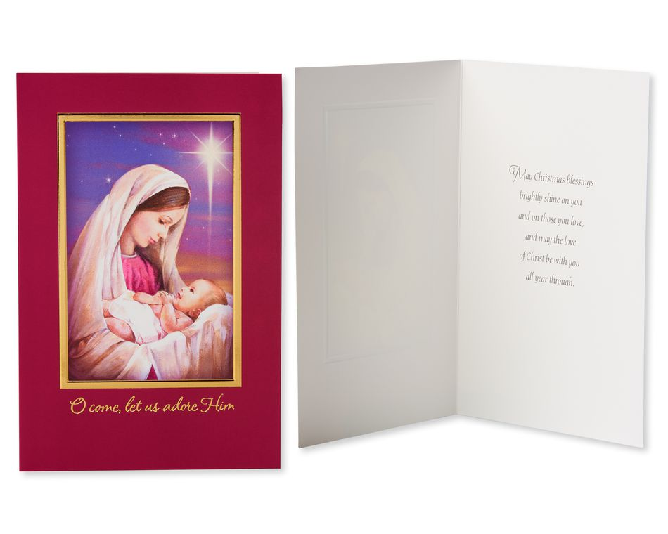 Religious Assorted Christmas Boxed Cards with White Envelopes, 24-Count