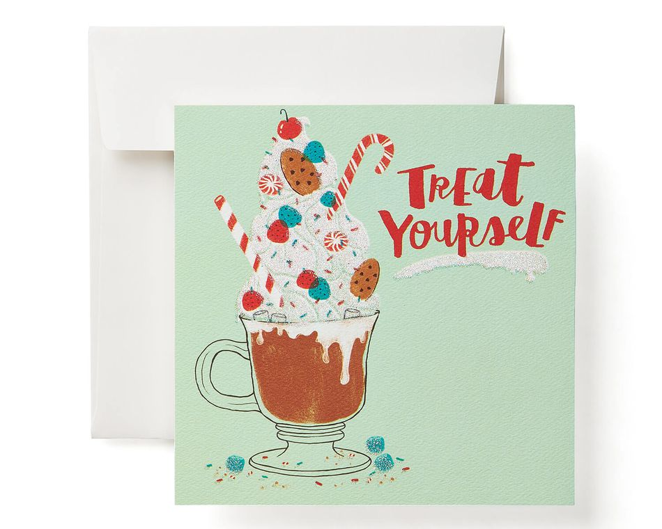 treat yourself money and gift card holder greeting card 6 count christmas