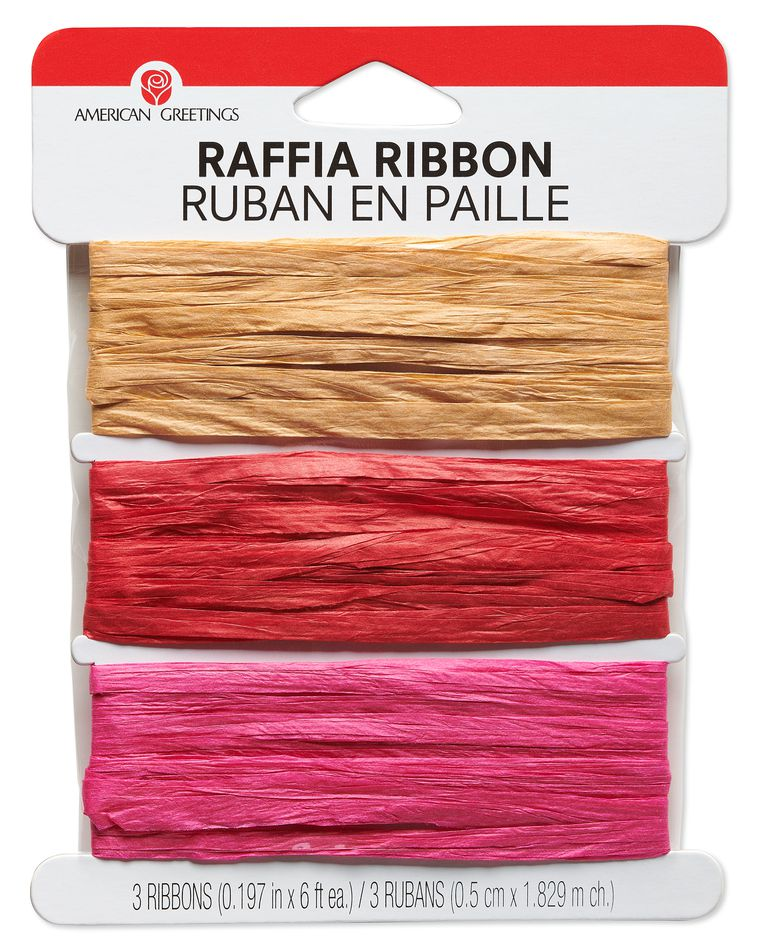 Tan, Red and Pink Raffia Ribbon, 6 Ft. Each, 18 Ft. Total