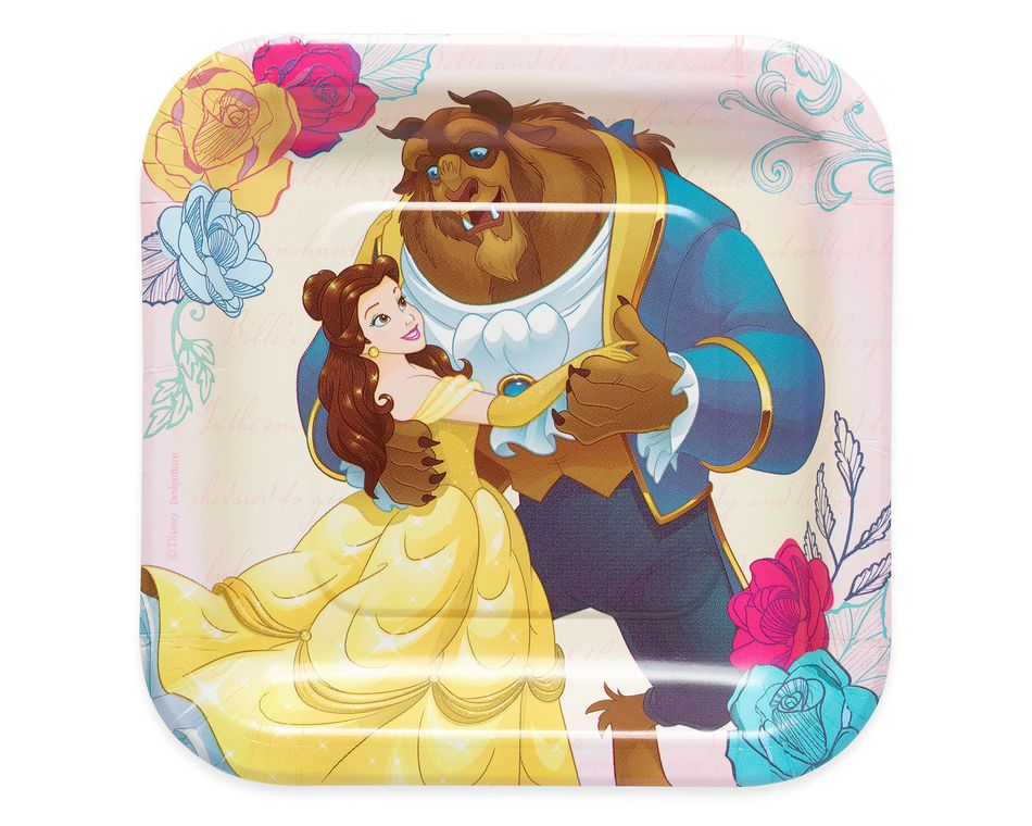 Beauty and the Beast 8-Count Dessert Square Plate