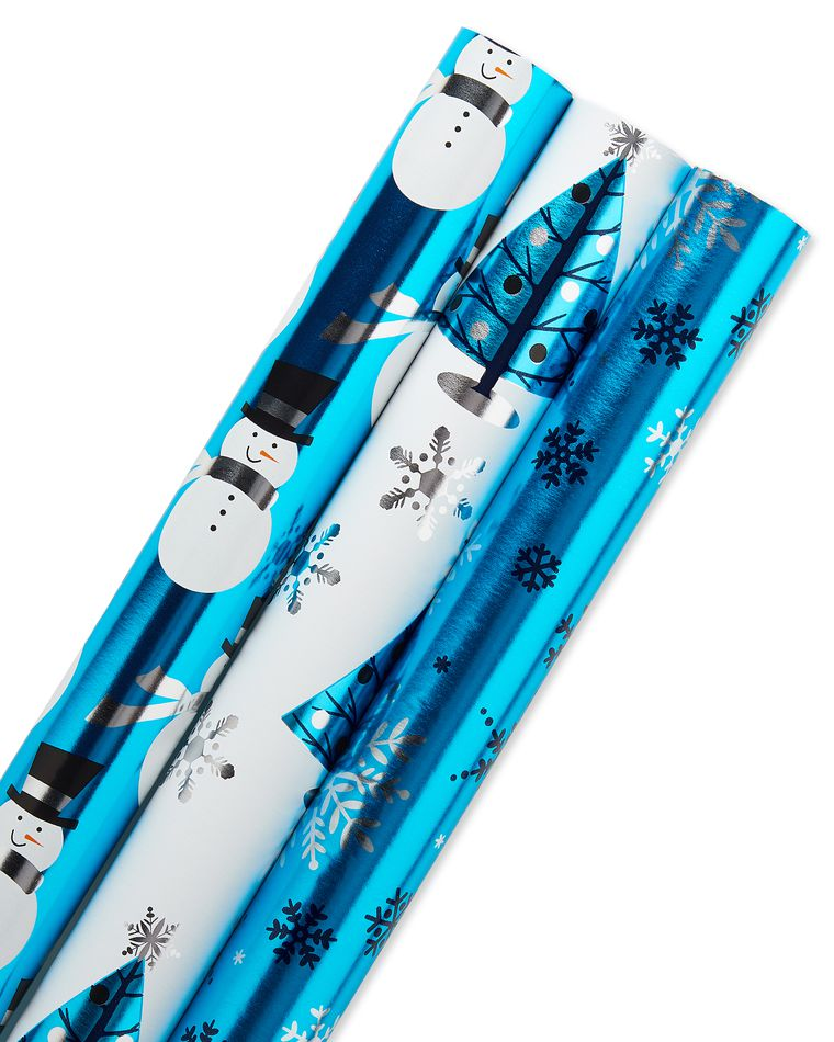 Christmas Foil Wrapping Paper with Gridlines, Blue Snowmen, Snowflakes and Trees, 3-Roll, 30
