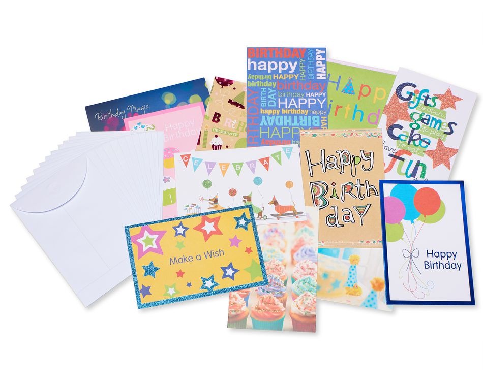 variety pack birthday cards and envelopes 12count