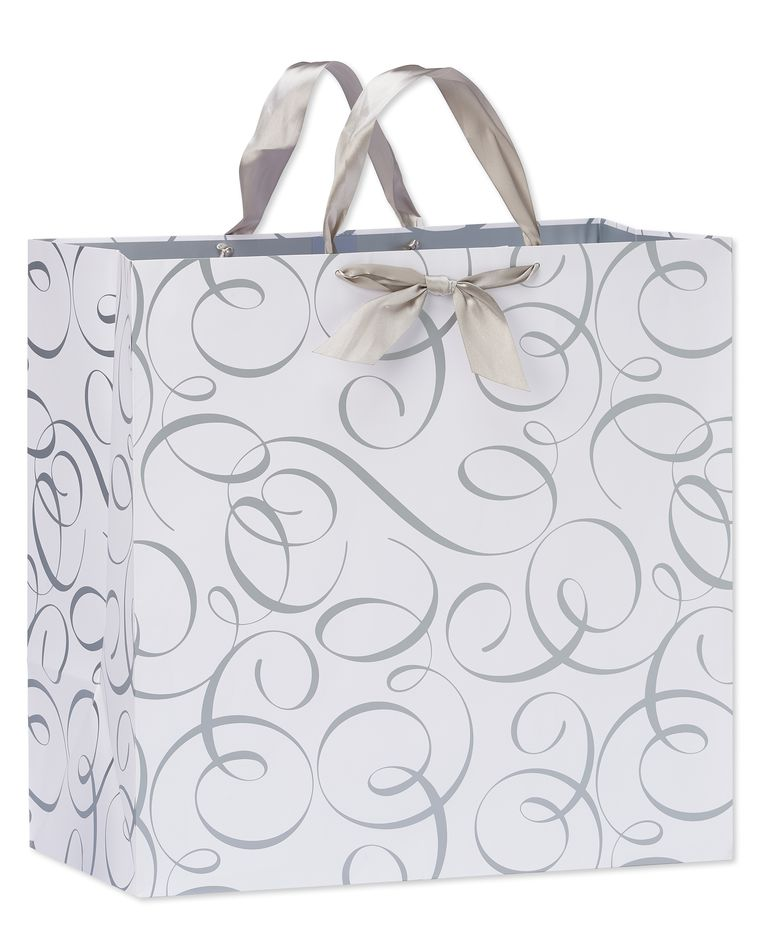 jumbo square silver wedding scrolls gift bag