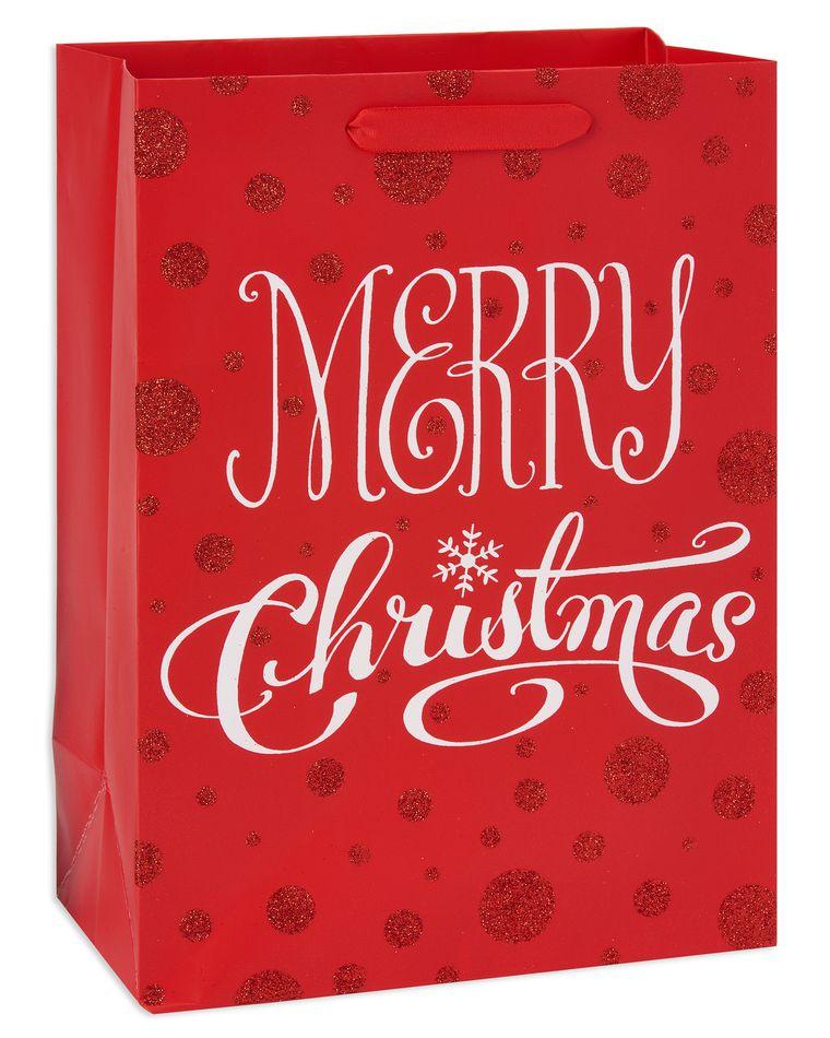small red merry christmas gift bag