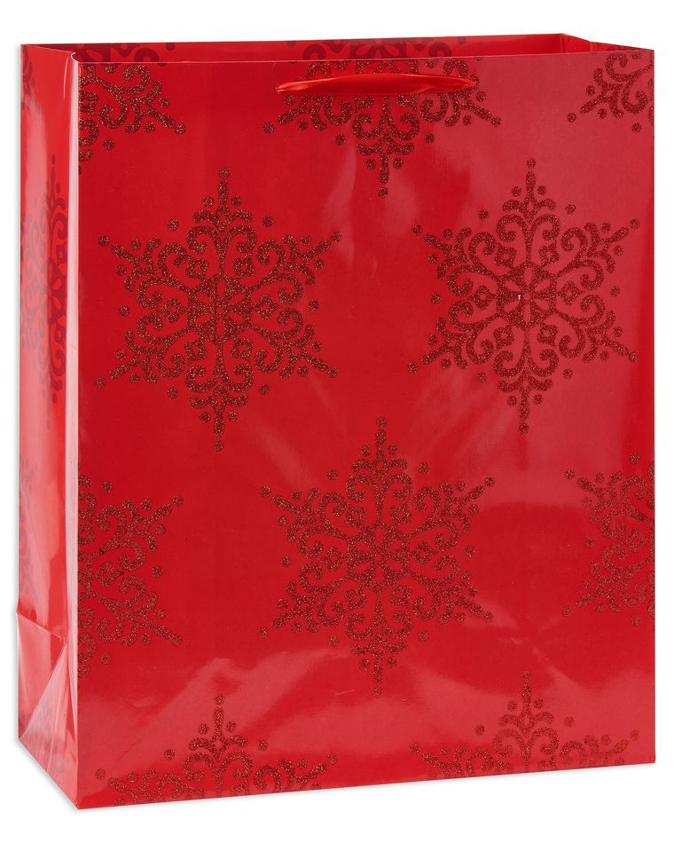large red snowflakes christmas gift bag