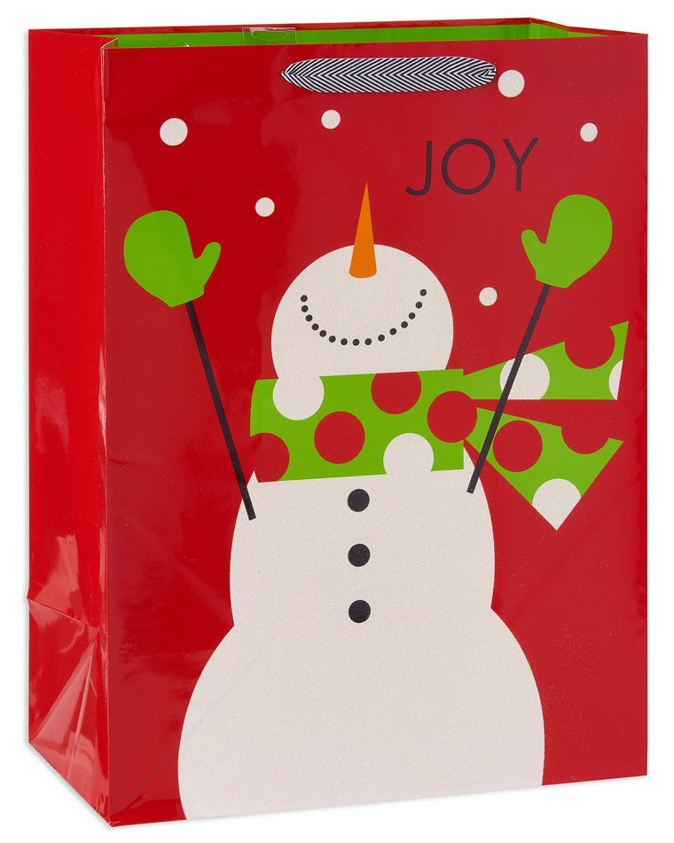 jumbo joyful snowman christmas gift bag