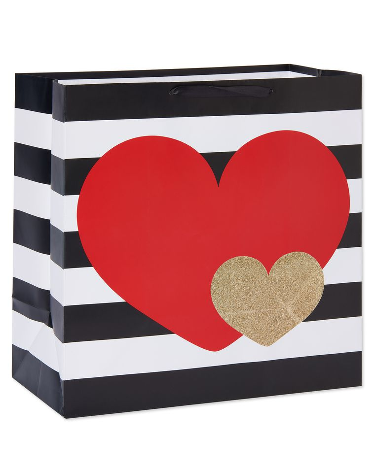 large hearts and stripes valentine's day gift bag