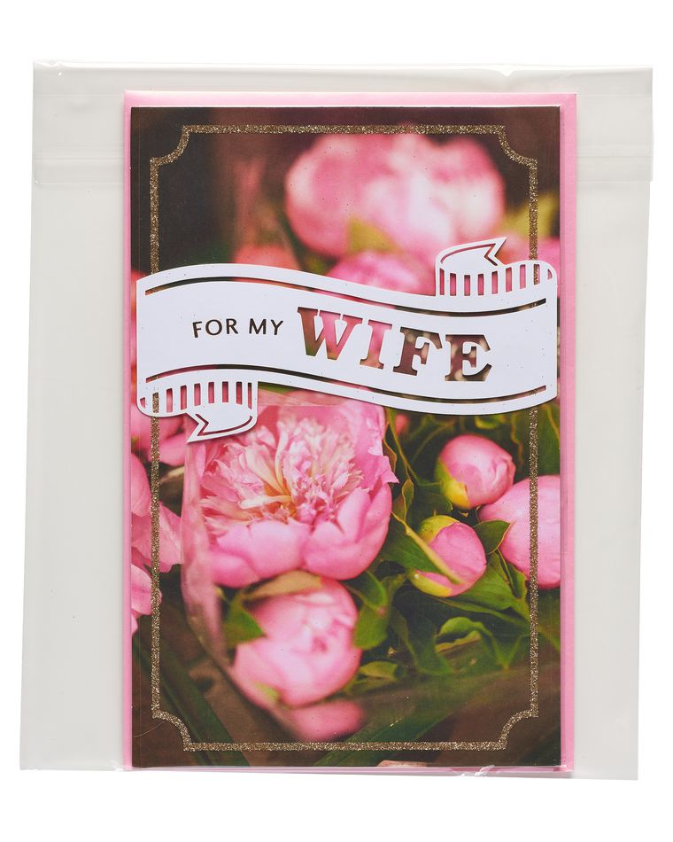 floral mother's day card for wife with glitter