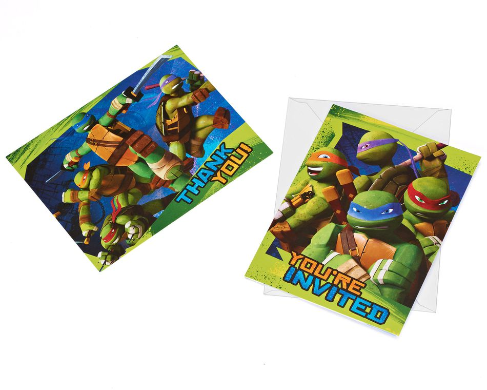 teenage mutant ninja turtles invite and thank you combo pack 8 ct