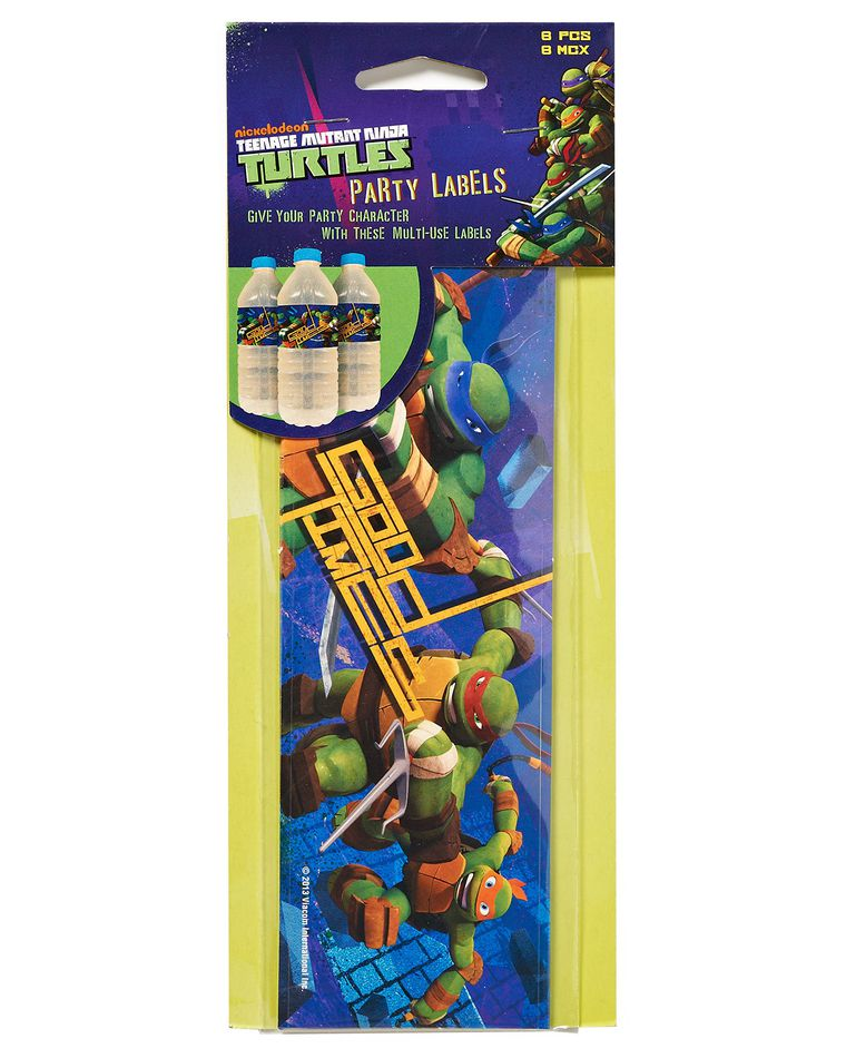 teenage mutant ninja turtles party labels 8 ct