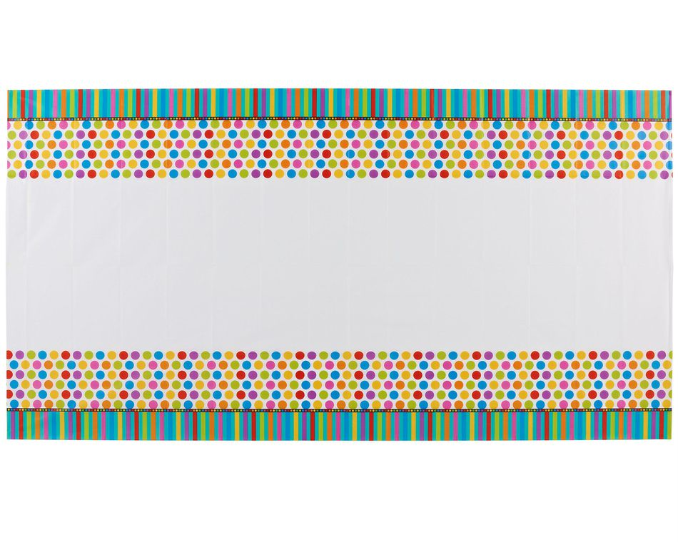 dots & stripes plastic table cover 54in x 96in