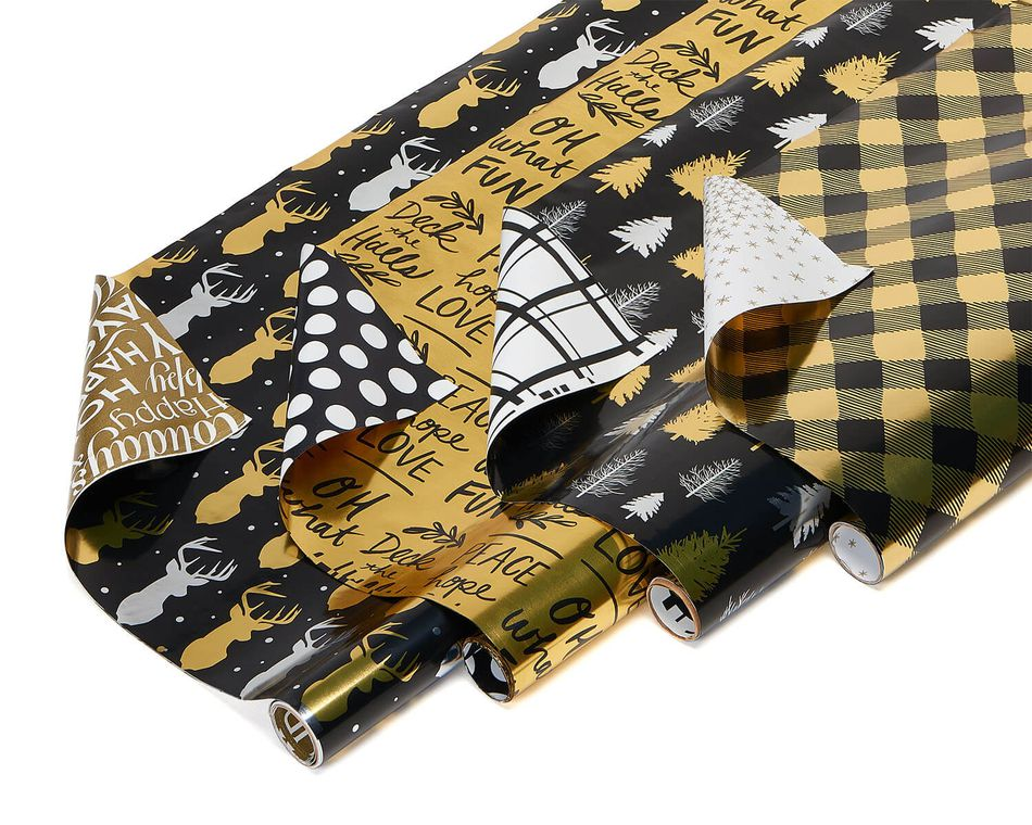 christmas foil reversible wrapping paper black and gold trees plaid script and reindeer 4. Black Bedroom Furniture Sets. Home Design Ideas